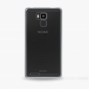 Силиконовый чехол-бампер для телефона Nomi (Номи) i6030 NOTE X Прозрачный с серым кантом
