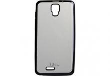 Силиконовый чехол-бампер для телефона Nomi (Номи) i4510 BEAT M Прозрачный с серым кантом