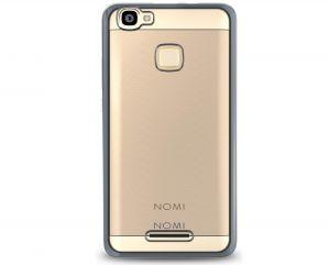 Силиконовый чехол-бампер для телефона Nomi (Номи) i5032 EVO X2 Прозрачный с серым кантом