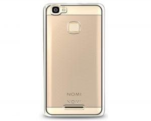 Силиконовый чехол-бампер для телефона Nomi (Номи) i5032 EVO X2 Прозрачный с серебристым кантом