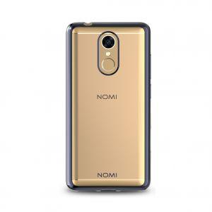 Силиконовый чехол-бампер для телефона Nomi (Номи) i5050 EVO Z Прозрачный с черным кантом