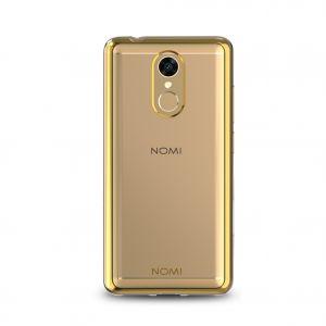 Силиконовый чехол-бампер для телефона Nomi (Номи) i5050 EVO Z Прозрачный с золотым кантом