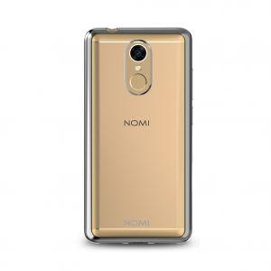 Силиконовый чехол-бампер для телефона Nomi (Номи) i5050 EVO Z Прозрачный с серым кантом