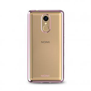 Силиконовый чехол-бампер для телефона Nomi (Номи) i5050 EVO Z Прозрачный с розовым кантом