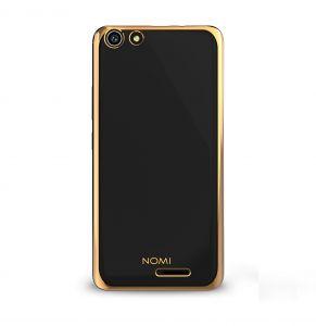 Силиконовый чехол-бампер для телефона Nomi (Номи) i5510 SPACE M Прозрачный с золотым кантом
