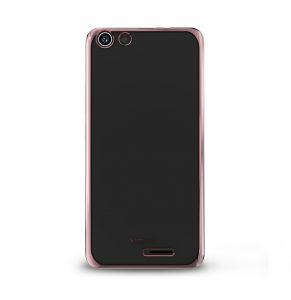 Силиконовый чехол-бампер для телефона Nomi (Номи) i5510 SPACE M Прозрачный с розовым кантом
