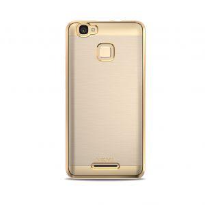 Силиконовый чехол-бампер для телефона Nomi (Номи) i5532 SPACE X2 Прозрачный с золотым кантом