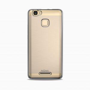 Силиконовый чехол-бампер для телефона Nomi (Номи) i5532 SPACE X2 Прозрачный с серым кантом