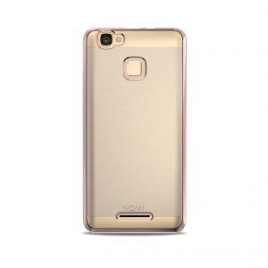 Силиконовый чехол-бампер для телефона Nomi (Номи) i5532 SPACE X2 Прозрачный с розовым кантом