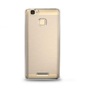 Силиконовый чехол-бампер для телефона Nomi (Номи) i5532 SPACE X2 Прозрачный с серебристым кантом