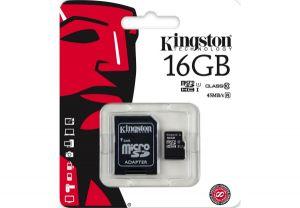 Карта памяти Kingston microSDHC UHS-I 45R 16GB class 10 + SD